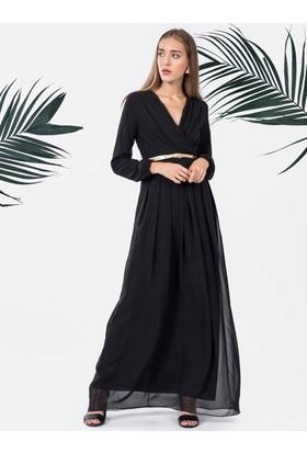 İroni Uzun Kollu Pileli Uzun Elbise