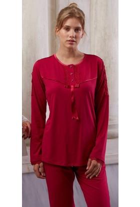 Feyza 3127 Ultrasoft Lizöslü 3'lü Kadın Pijama Takımı