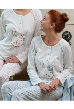 Feyza 3130 Tavşanlı Kadife Sabahlıklı 3'lü Kadın Pijama Takımı
