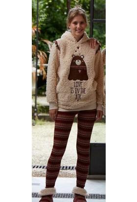 Feyza 3137 Kuzu Tüyü Patikli Taytlı Kadın Pijama Takımı