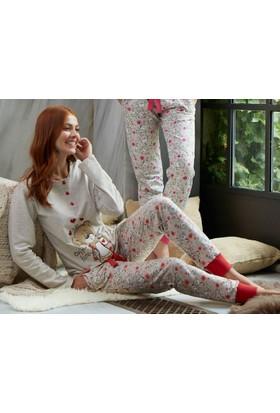 Feyza 3168 Welsoft Ayıcıklı 3'lü Kadın Pijama Takımı