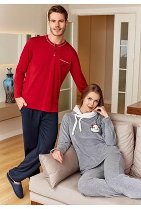 Eros ESE20042 O Yaka Düğmeli Uzun Kol Erkek Pijama Takımı