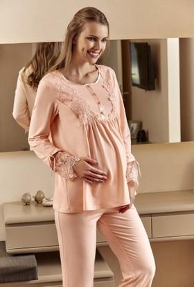 Eros ESK20800 O Yaka Düğmeli Uzun Kollu Dantel Detaylı Lohusa Hamile Pijama Takımı