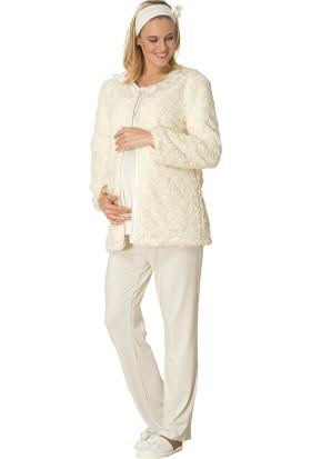 Şık Mecit 1701 Gül Desenli Peluşlu 3'lü Hamile Lohusa Pijama Takımı