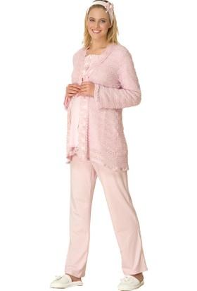 Şık Mecit 1700 Pıtırcık Triko Lohusa 3'lü Pijama Takımı