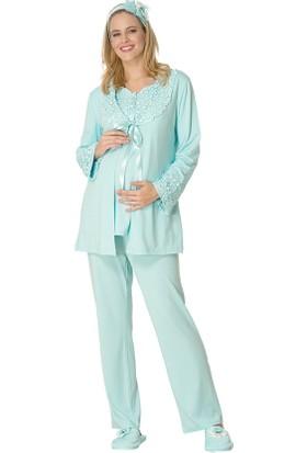 Şık Mecit 1705 Dantel Yaka Sabahlık Lohusa 3'lü Pijama Takımı