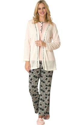 Şık Mecit 1739 Kadın Triko Hırkalı 3'lü Pijama Takımı