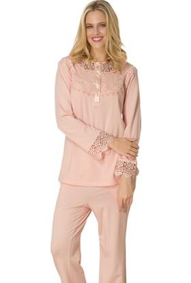 Şık Mecit 1729 Ay Yaka Güpürlü Uzun Kollu Kadın Pijama Takımı