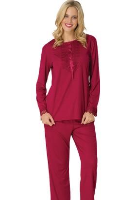 Şık Mecit 1733 Güpür Yaka Melisa Uzun Kollu Pijama Takımı