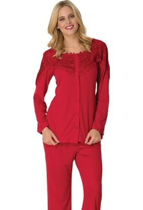 Şık Mecit 1734 Roba Dantelli Melisa Önden Düğmeli Uzun Kollu Kadın Pijama Takımı