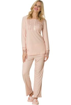 Şık Mecit 1744 Güpür Taşlı Melisa Uzun Kollu Kadın Pijama Takımı