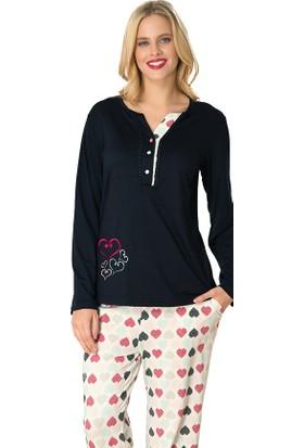 Şık Mecit 1740 Kalp Desen Uzun Kollu Mikro Kadın Pijama Takımı