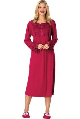 Şık Mecit 1746 Taslı Güpürlü Battal Uzun Kollu Kadın Pijama Takımı