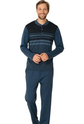 Şık Mecit 2702 Çizgili Jakarlı Uzun Kollu Erkek Pijama Takımı