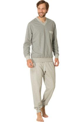 Şık Mecit 2711 Melanj V Yaka Uzun Kollu Erkek Pijama Takımı
