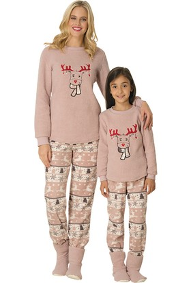 Şık Mecit 3028 Geyik Desen Polar Kız Çocuk Pijama Takımı