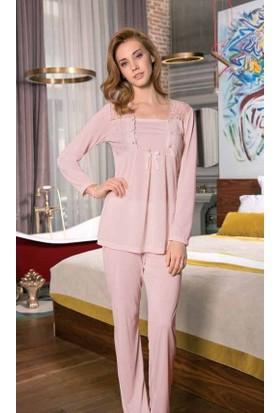 Yeni İnci BPJ184 Viskon Hamile Lohusa 3'lü Uzun Kollu Pijama Takım