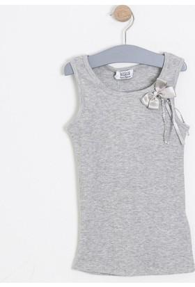Soobe Kız Çocuk Kolsuz T-Shirt Gri Melanj