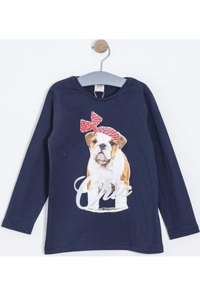 Soobe Pop Girls Bandanalı Köpek Uzun Kol T-Shirt Lacivert