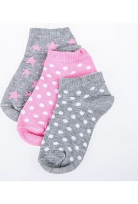 Soobe Kız Çocuk Üçlü Çorap Set Gri Melanj