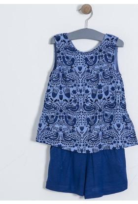 Soobe Kız Çocuk Bluz Şort Set Mavi