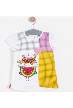 Soobe Kız Çocuk Kısa Kol T-Shirt Beyaz