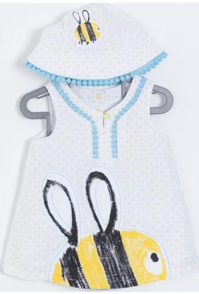Soobe Kız Bebek Elbise Külot Şapka Set Beyaz