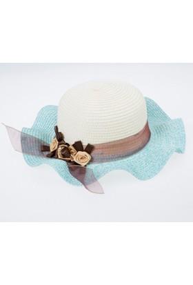 Soobe Kız Çocuk Hasır Şapka Turkuaz