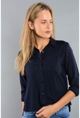 Rodin Hills Lacivert Bayan Gömlek Arka Robalı Çift Cep 7209