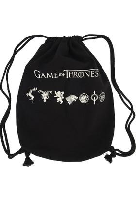 Game Of Thrones Kanvas - Logolar Bez Sırt Çantaları Siyah Got182