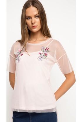 Defacto Çiçek Nakışlı Tül Bluz H5177Az17Smpn151