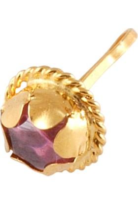 Akyüz Gümüş Lila Zirkon Taşlı Altın Hızma Hz037