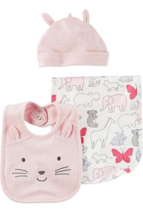 Carter's Layette Kız Bebek 3'Lü Şapka Önlük Seti 126G769