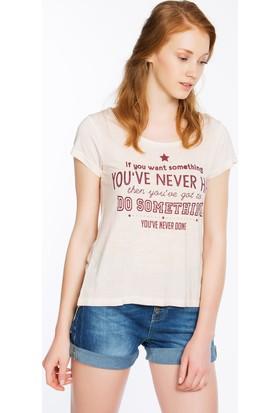 Bexy Rome Top Pudra Arkası Şifon Detaylı Tshirt