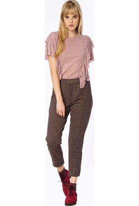 Bexy Valencia Fırfır Detaylı Simli Pembe Bluz