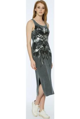 Bexy Barı Önü Dantel Detaylı Gri Elbise
