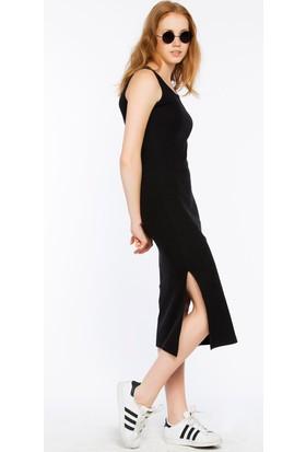 Bexy Barı Önü Dantel Detaylı Siyah Elbise
