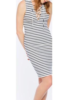 Bexy Livorno Ekru Lacivert Çizgili Elbise