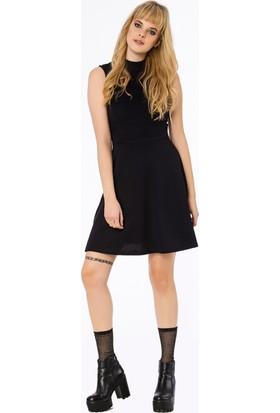 Bexy Real Önü Nervür Detaylı Koyu Mor Elbise