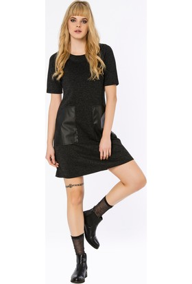Bexy Teruel Deri Cep Detaylı Antrasit Elbise