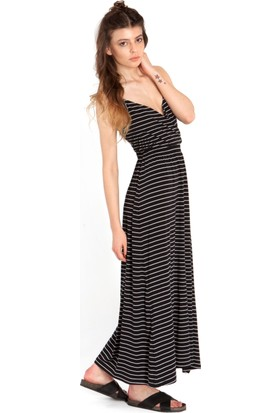 Bexy Eliesha Beyaz Çizgili Siyah V Yakalı Elbise