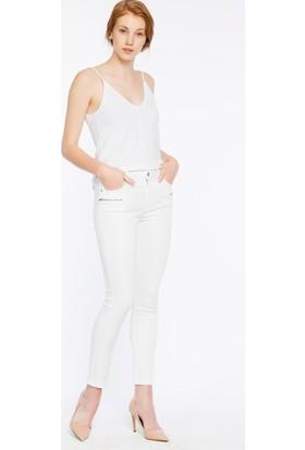 Bexy Puglia Beyaz Fermuar Detaylı Pantolon