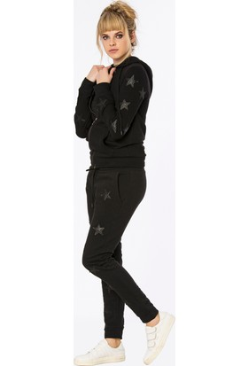 Bexy Huesca Deri Yıldız Aplikeli Siyah Koton Pantolon