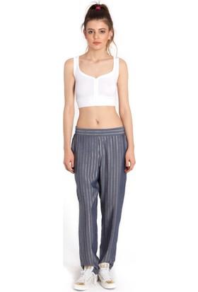 Bexy Daniela Denim Görünümlü Altın Mavi Çizgili Pantolon