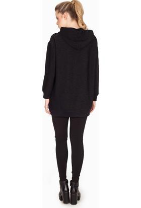 Bexy Kiev Simli Kapşonlu Siyah Uzun Sweatshirt