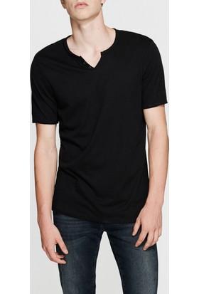 Mavi Siyah Düğmeli Yaka T-Shirt
