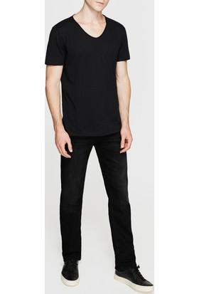 Mavi Siyah V Yaka T-Shirt