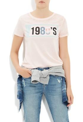 Mavi Pembe Baskılı T-Shirt