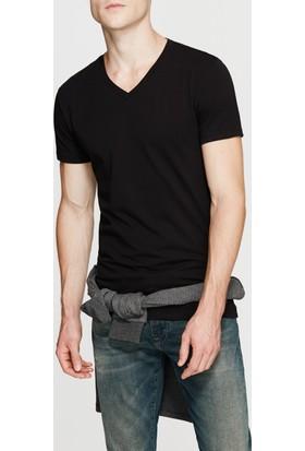 Mavi Siyah V Yaka Streç T-Shirt