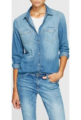 Mavi Isabel Orta Mavi Puslu Jean Gömlek
